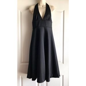 J. Crew 100% Wool Black Halter Top Midi Dress